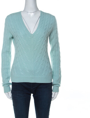 Ralph Lauren Mint Blue Cable Knit V Neck Sweater L