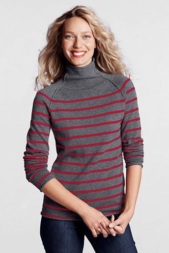 Lands' End Women's Regular Stripe Cashmere Funnelneck Sweater