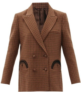 BLAZÉ MILANO Rembrandt Houndstooth Double-breasted Wool Jacket - Brown Multi