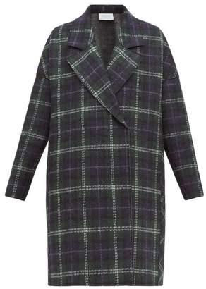 Harris Wharf London Tartan-check Pressed Virgin Wool-felt Coat - Womens - Green Multi