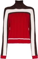 Plan C colour block knit roll neck jumper