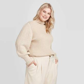 Who What Wear Women's Plus Size Mock Turtleneck Chunky Knit Pullover Sweater - Who What WearTM Gray