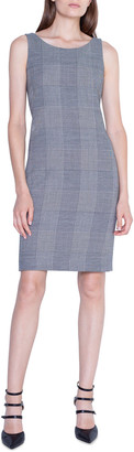 Akris Plaid Crepe Sleeveless Sheath Dress