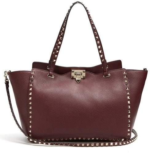 Valentino Rockstud Medium Leather Tote - Womens - Burgundy