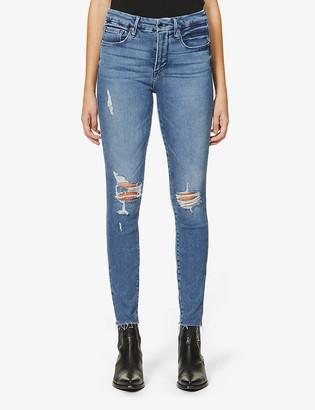 Good American Good Legs Fray Hem skinny high-rise organic cotton-blend jeans