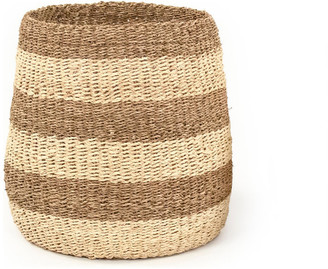 Zentique Two Tone Striped Concave Woven Basket, Large