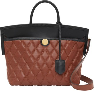 Burberry Small Society Quilted Leather Top Handle Tote