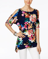 Cable & Gauge Floral-Print Cold-Shoulder Top
