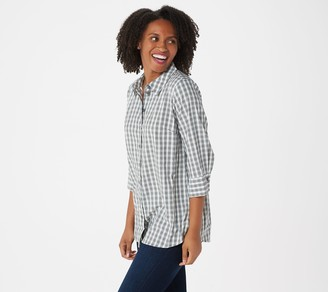 Joan Rivers Classics Collection Joan Rivers Perfect Gingham Shirt with 3/4-Sleeves
