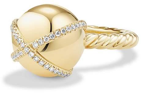 David Yurman Solari Double Pavé Wrap Ring with Diamonds in 18K Gold