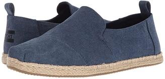 Toms Deconstructed Alpargata Rope (Black Washed Canvas) Men's Slip on Shoes