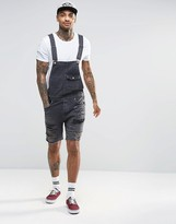 Asos Denim Overalls With Mega Rips In Washed Black