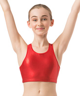 Danskin Red Foil Print Gymnastic Crop-Top - Girls