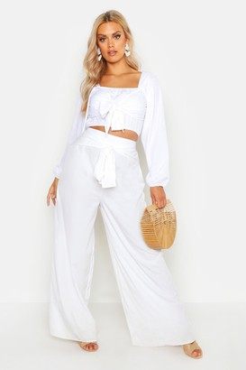 boohoo Plus Woven Tie Belt Detail Wide Leg Pants