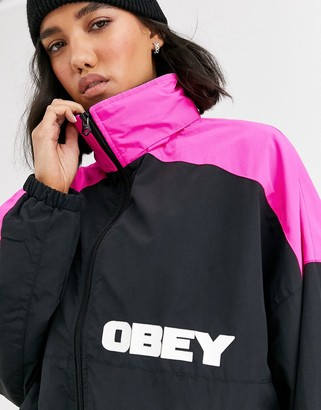 Obey oversized retro jacket with neon colour block and back logo-Black