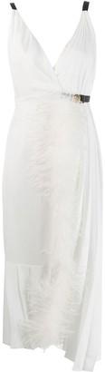 Prada Feather Trim Midi Dress