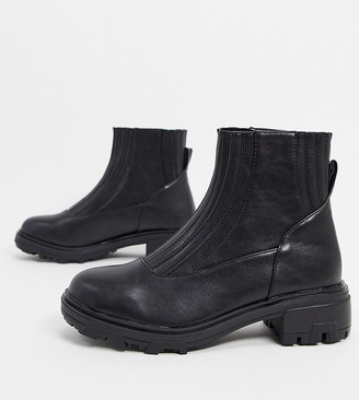 Raid Wide Fit Exclusive Prisla chunky flat boots in black