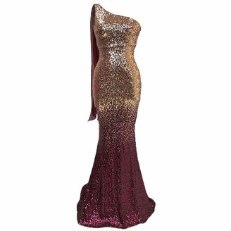 IBTOM CASTLE Women's Elegant Floor Length A Line Sequin Long Bridesmaids Dress Gold+Wine Red S
