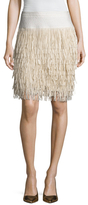 BCBGMAXAZRIA Leva Faux Leather Fringe Skirt