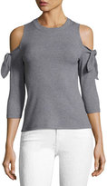 Rebecca Taylor Short-Sleeve Cold-Shoulder Ribbed Jersey Top, Gray