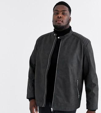 Jack and Jones Originals faux leather jacket in black