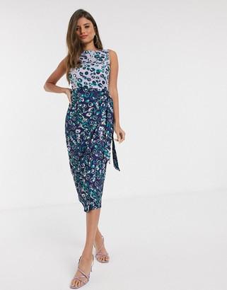 Closet London wrap pencil dress in floral mix