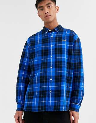 Lacoste Live L!VE logo check shirt with button down collar in blue