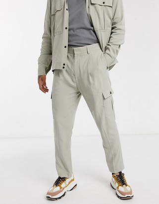 ASOS DESIGN co-ord tapered smart trousers with cargo pocket in stone twill