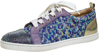 Christian Louboutin Purple Lurex and Suede Gandolastrass Low Top Sneakers Size 38.5