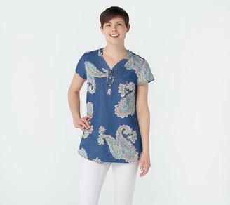 Denim & Co. Printed Denim Notch Collar Cap Sleeve Tunic