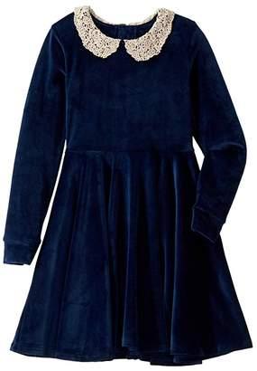 Rock Your Baby Lace Collar Velvet Long Sleeve Waisted Dress (Toddler/Little Kids/Big Kids) (Navy) Girl's Dress