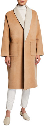 Eileen Fisher Plus Size Double-Face Wool-Cashmere Shawl Collar Coat
