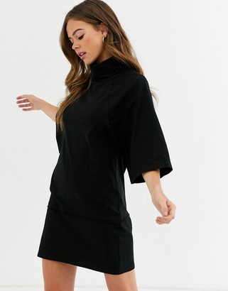 ASOS DESIGN high neck 3/4 sleeve mini dress