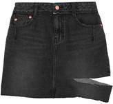 Sjyp Cutout Distressed Denim Mini Skirt - Black