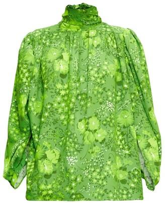 Balenciaga Tie-neck Poppy-print Crepe Blouse - Green