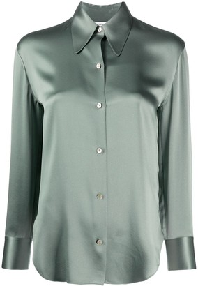 Vince Long-Sleeved Fitted Silk Blouse