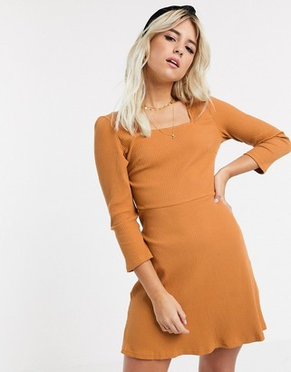 Glamorous ribbed square neck mini dress in tan