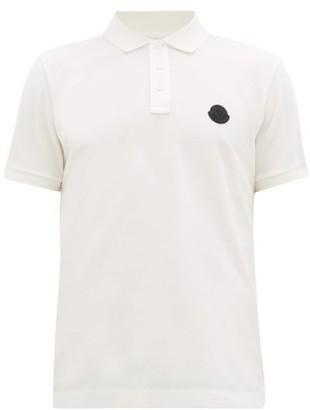 Moncler Logo-plaque Cotton-pique Polo Shirt - White