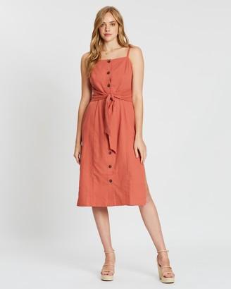MinkPink Alcove Tie Waist Midi Dress
