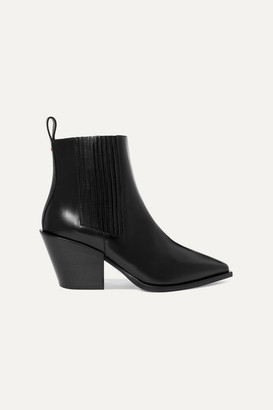 AEYDĒ Kate Leather Ankle Boots - Black