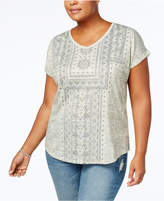 Style&Co. Style & Co Plus Size Roll-Sleeve Printed T-Shirt, Created for Macy's