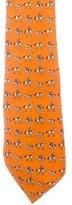Hermes Equestrian Print Silk Tie