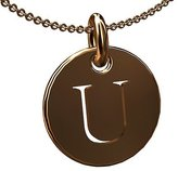 PPLuxury Initial Letter U 14K Pink Gold Disc Pendant Necklace