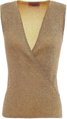 Missoni Wrap-effect Metallic Knitted Top
