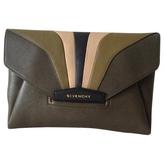 Givenchy khaki leather clutch