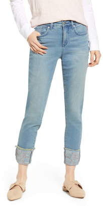 NYDJ Ami Embroidered Cuff Stretch Ankle Skinny Jeans