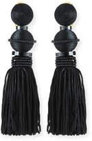 Oscar de la Renta Threaded Ball & Tassel Drop Earrings