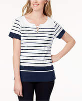 Karen Scott Petite Quincy Striped Laced-Neck Top, Created for Macy's