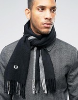 Fred Perry Striped Scarf In Cashmere Mix