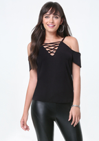 Bebe Lace Up Cold Shoulder Tee